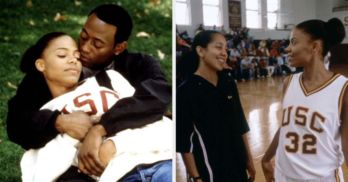 "Monica and Quincy embracing on the front lawn; director Gina Prince-Bythewood directing Sanaa Lathan on set of ""Love & Basketball"""
