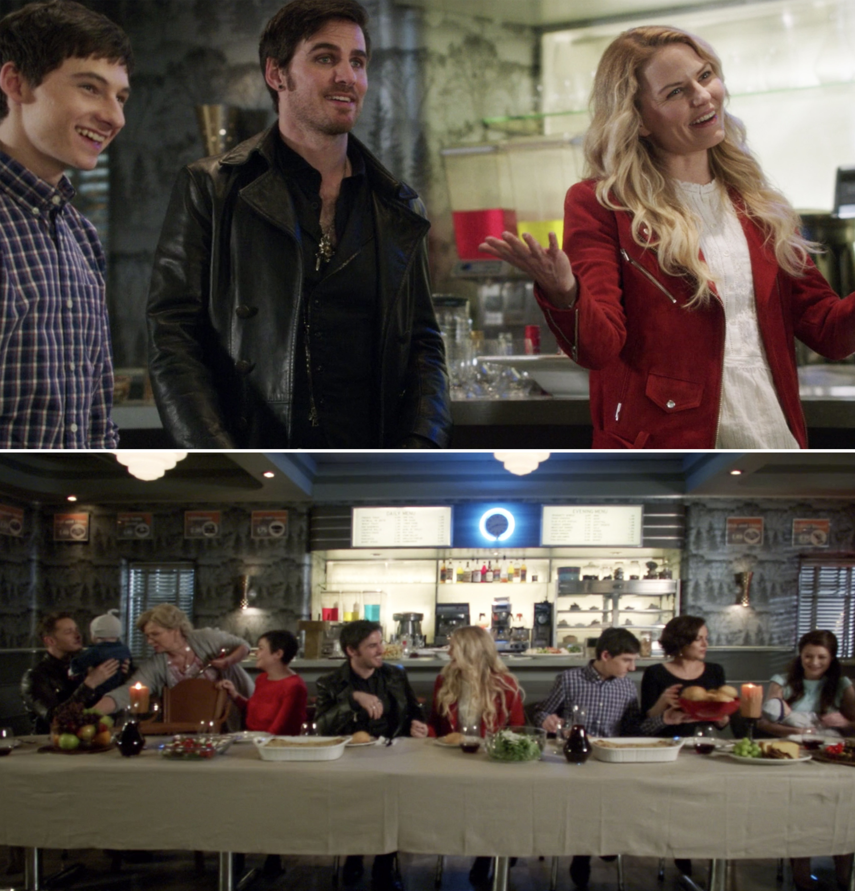 Hook, Emma, Charming, Snow, and their friends having lunch together