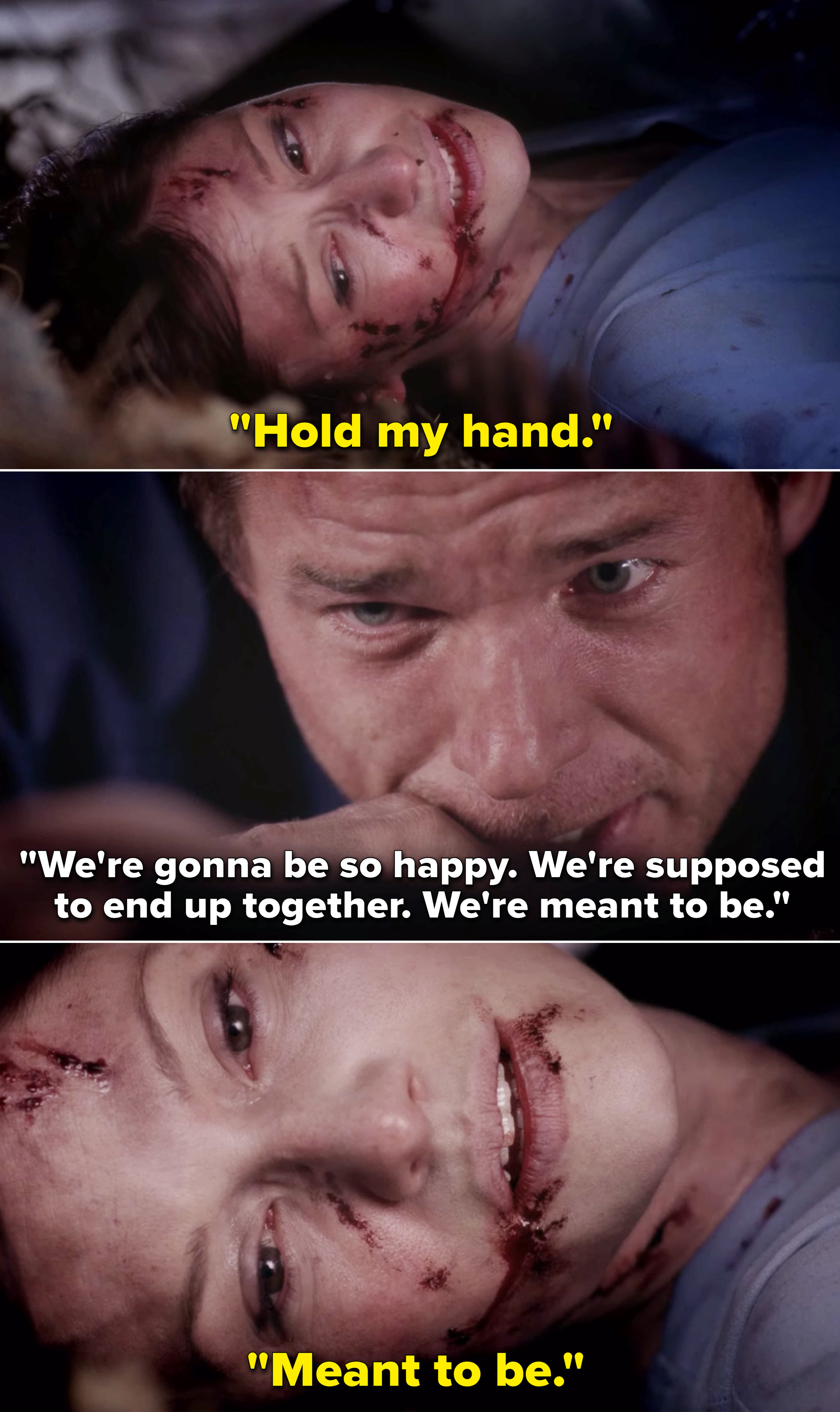 """Mark holding Lexie's hand and telling her, """"We're gonna be so happy. We're supposed to end up together. We're meant to be"""""""