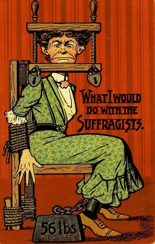 """""""What I would do with the suffragists,"""" written next to a woman being tortured"""