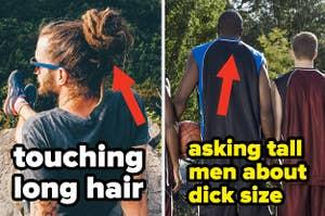 一个长头发的男人在一个高个子的篮球运动员旁边