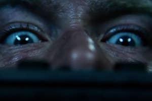 A terrified man stuck in a