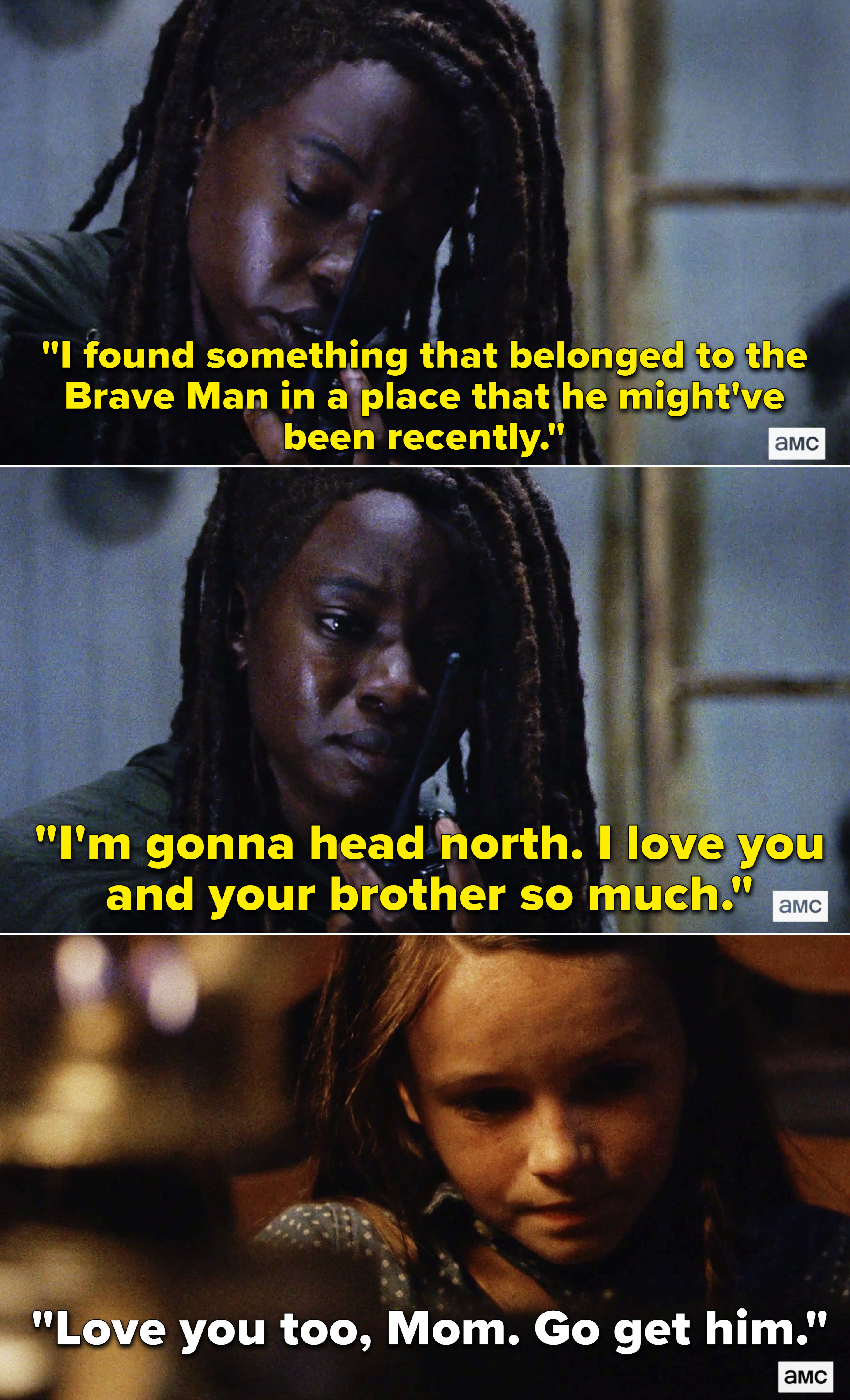 """Michonne radioing Judith and telling her she found something that beloved to the """"Brave Man"""""""