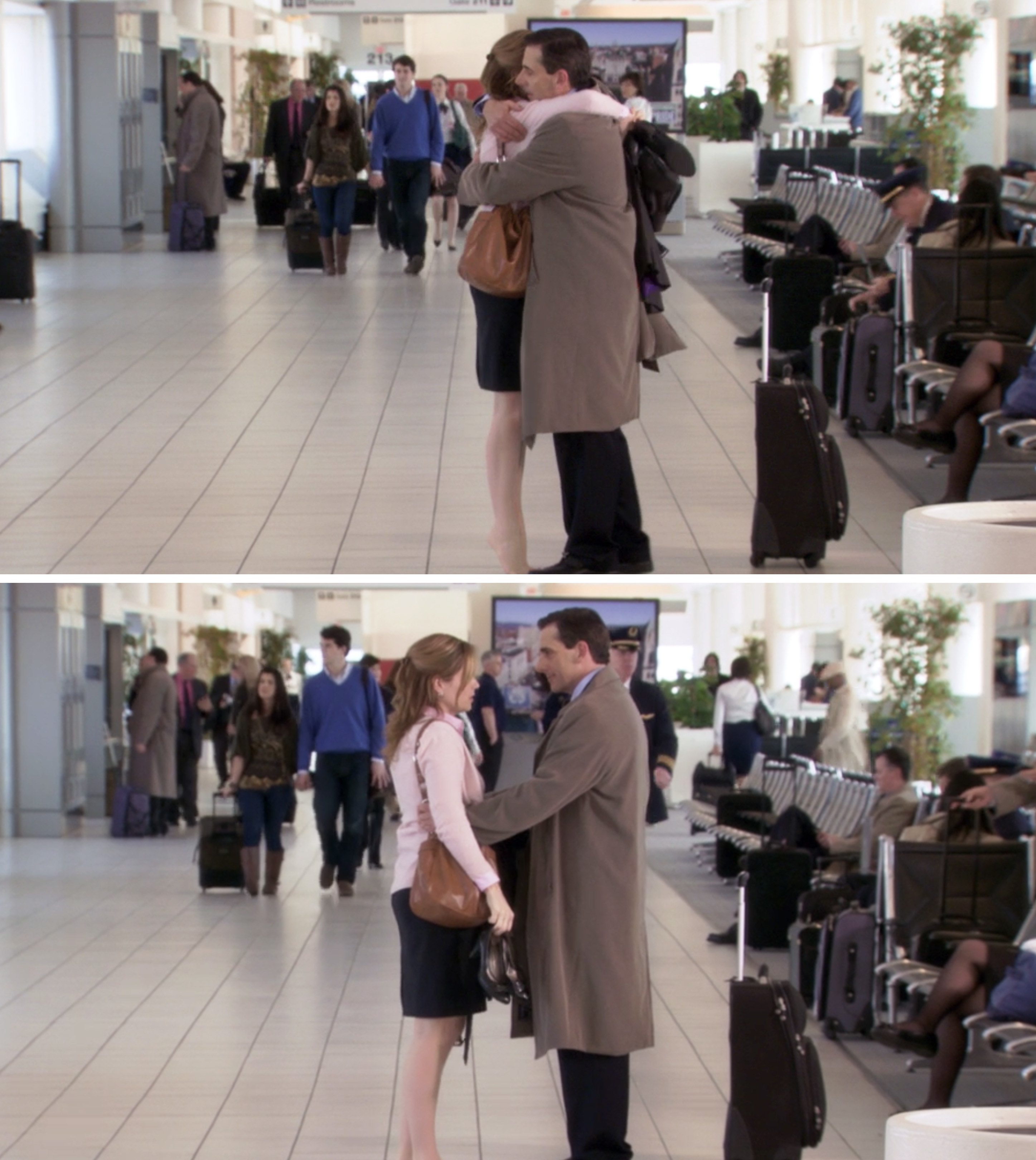 Pam and Michael hugging at the airport