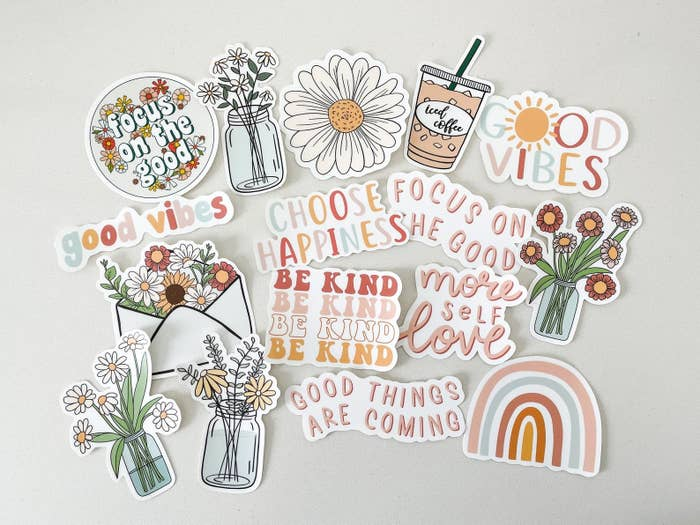 floral, rainbow, and coffee stickers