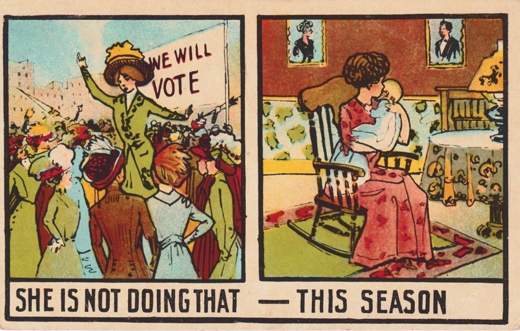 """""""She is not doing that this season,"""" written over a past Suffragette now holding a baby"""