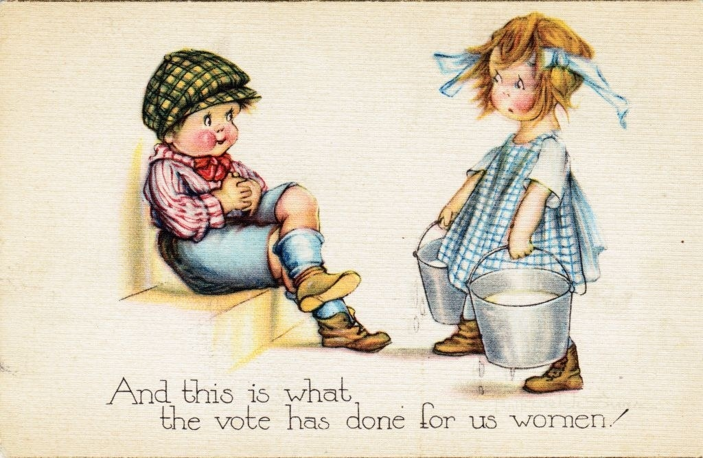 """""""And this is what the vote has done for us women,"""" written below a little girl holding buckets while a little boy watches and doesn't help her"""