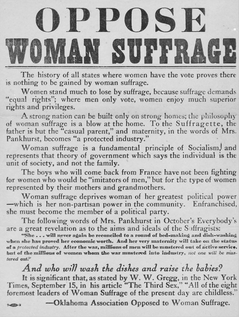 An anti-suffrage poster