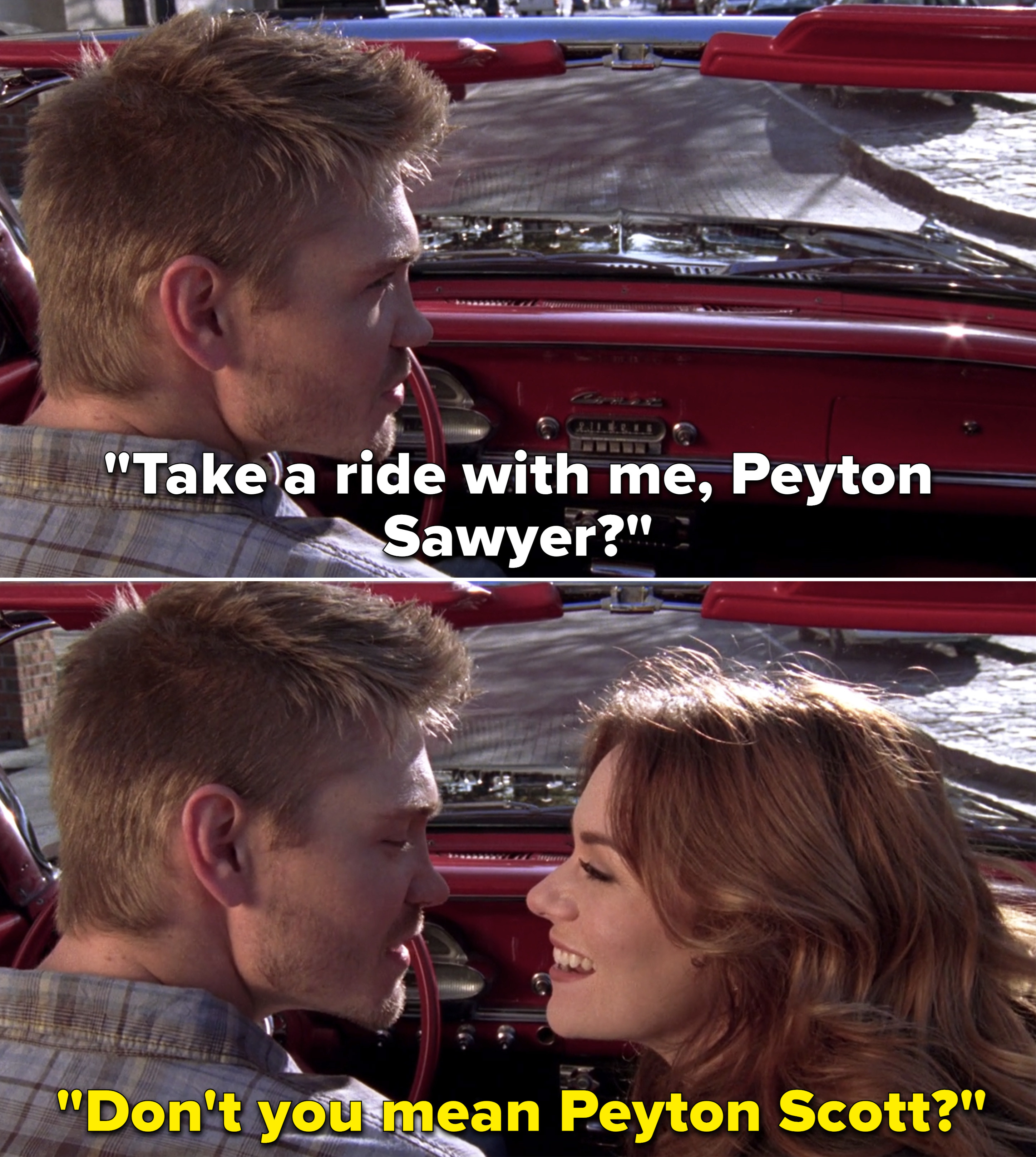 Peyton and Lucas in Peyton's car together getting ready to drive off