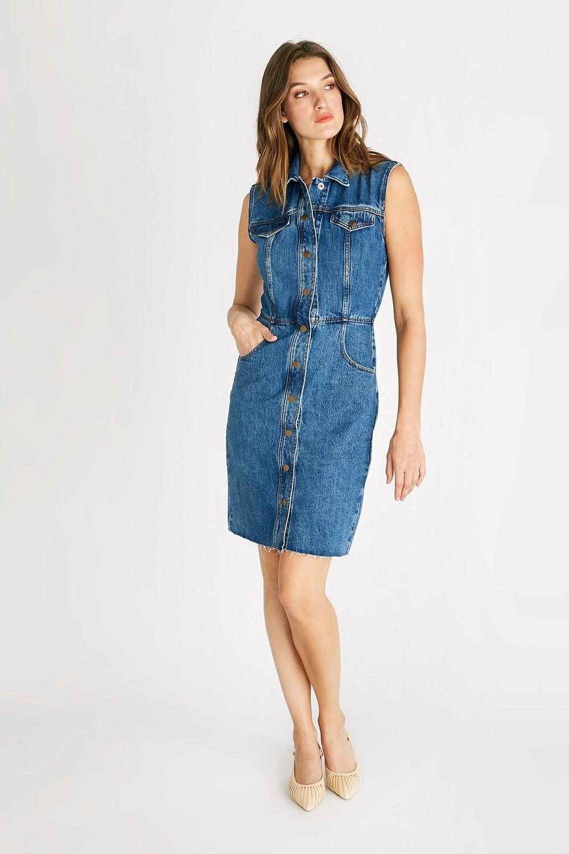 model wearing the denim pencil dress