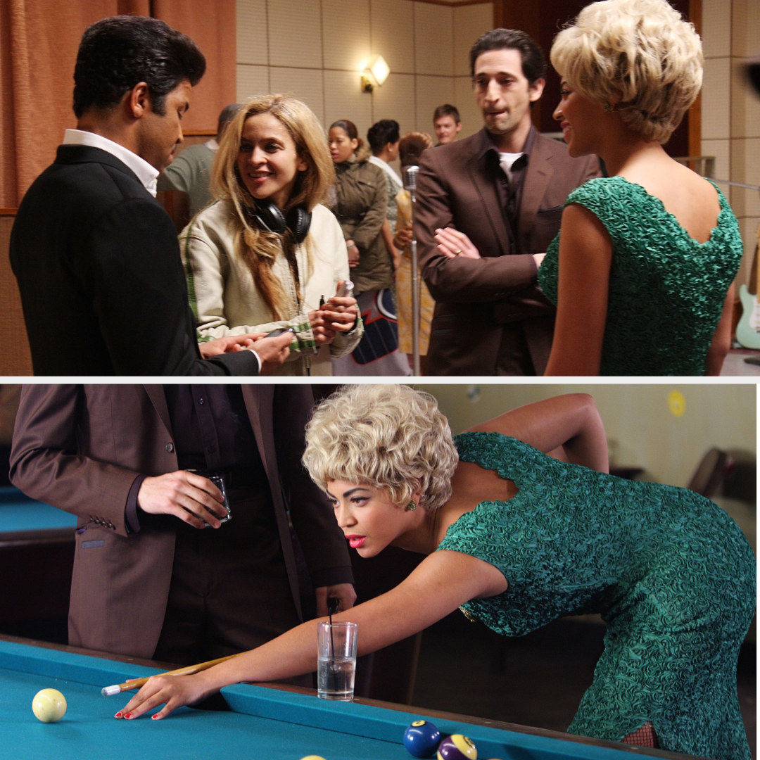 "Darnell Martin talking to Jeffrey Wright, Adrien Brody, and Beyoncé in between filming ""Cadillac Records""; Beyoncé as Etta James shooting pool in ""Cadillac Records"""