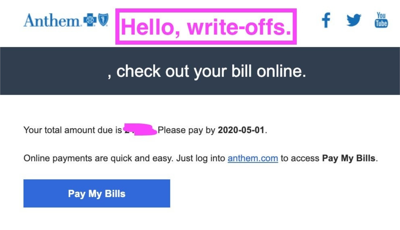 Screenshot of a health insurance premium bill