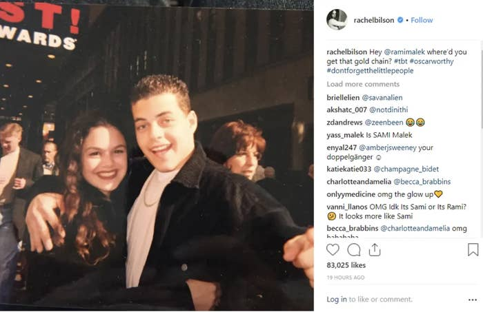 Archived IG post of Rachel Bilson and Rami Malek from high school