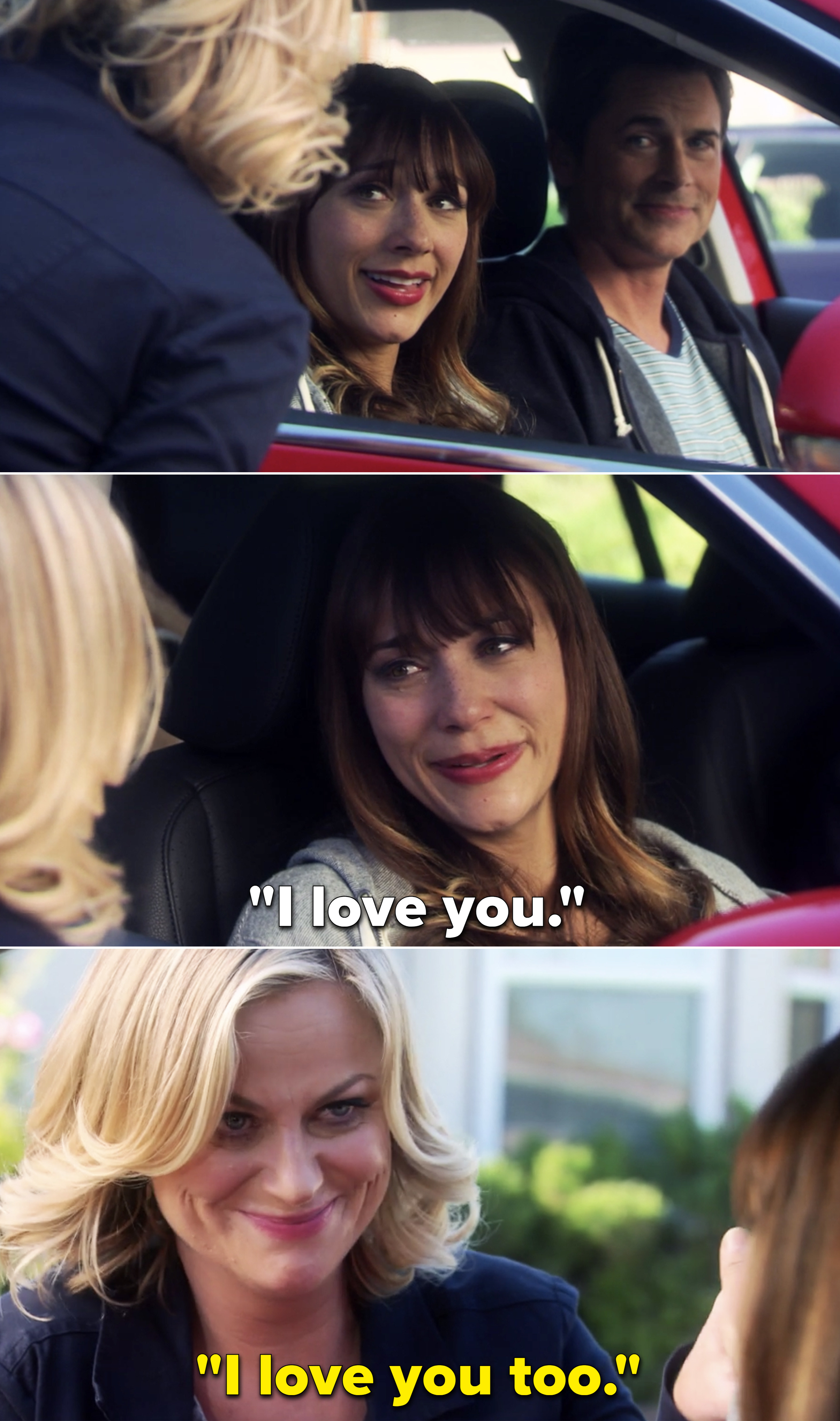 """Ann and Leslie saying, """"I love you"""""""