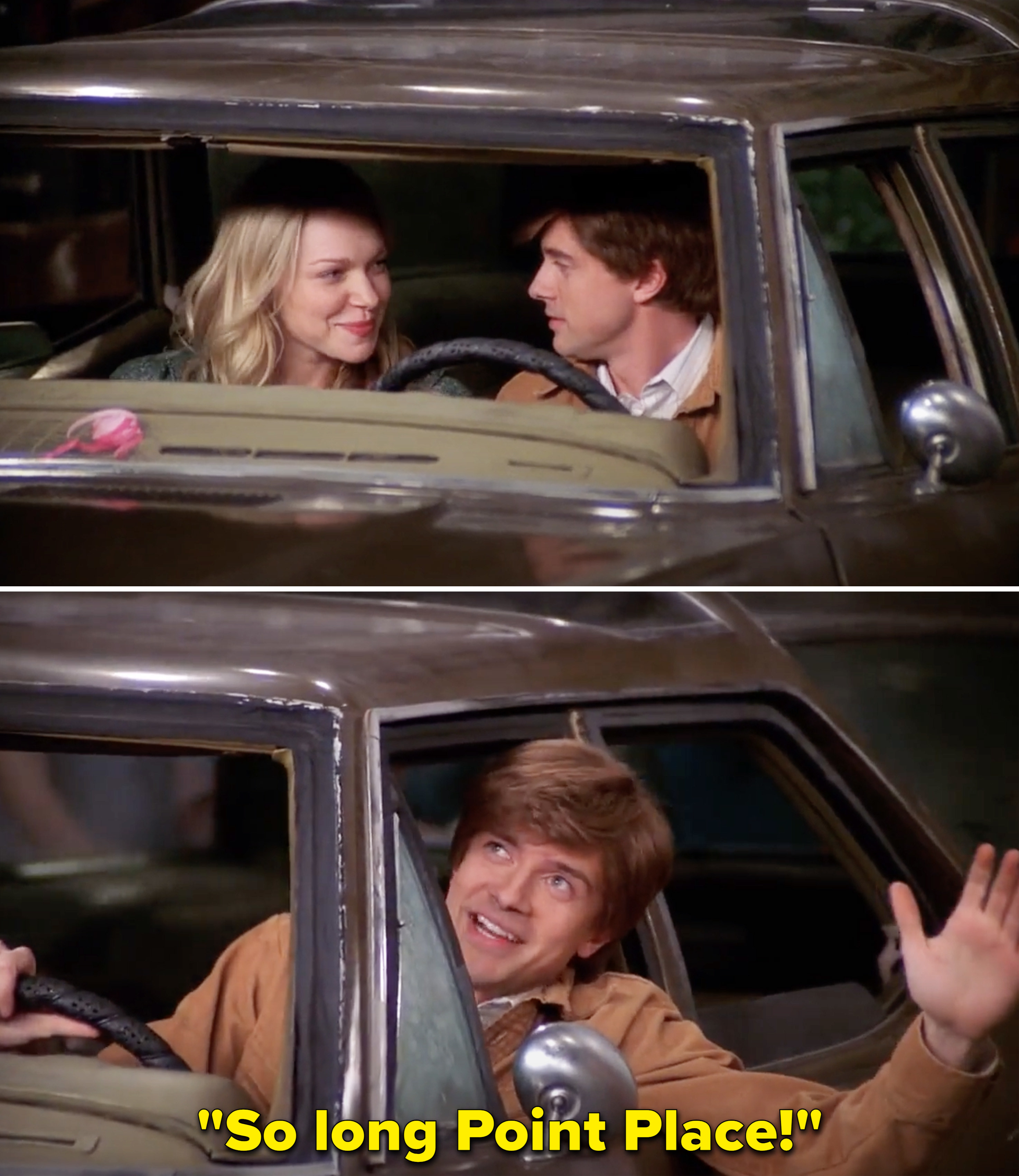"""Eric saying, """"So long Point Place"""" while in the car with Donna"""
