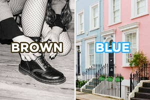 "On the left, someone bending down to tie their boot while wearing fishnet tights labeled ""brown,"" and on the right, some apartments in Notting Hill labeled ""blue"""