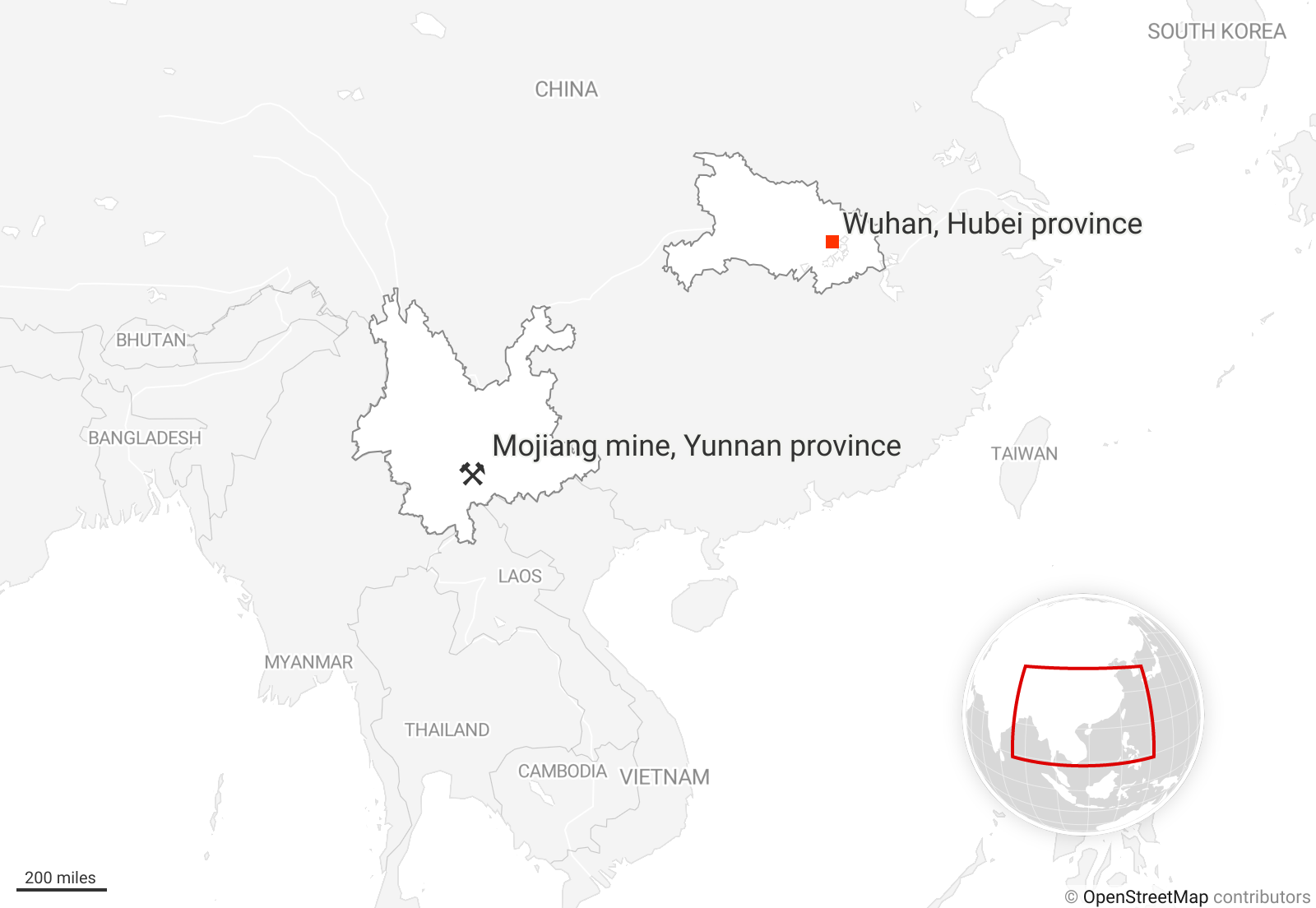 Wuhan in Hubei province and the Mojiang Mine in Yunnan province are highlighted on a map