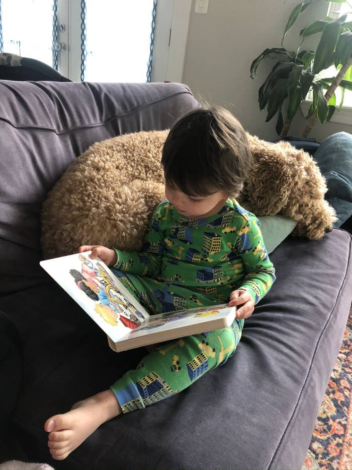 The author's son reads a book on a couch with his dog.