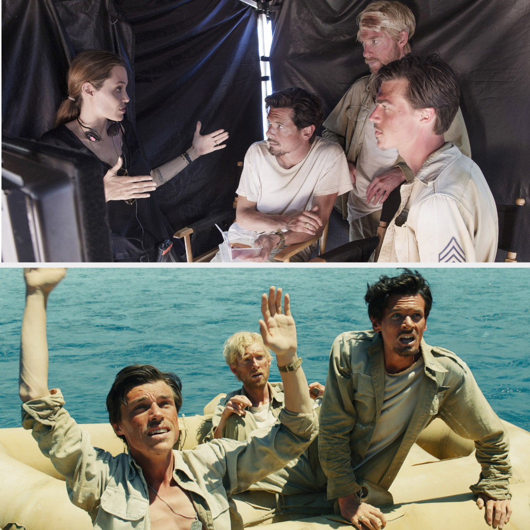 "Angelina Jolie directing Jack O'Connell, Domhnall Gleeson, and Garrett Hedlund in ""Unbroken"" behind the scenes; O'Connell, Gleeson, and Hedlund as their ""Unbroken"" characters on a raft, struggling"