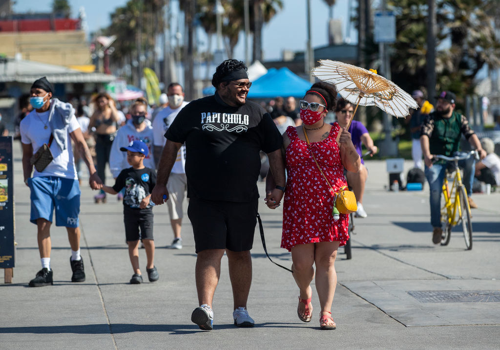 A couple walking on Venice beach