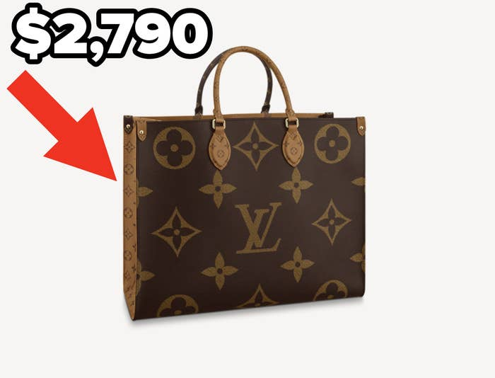 An arrow pointing at a louis vuitton bag