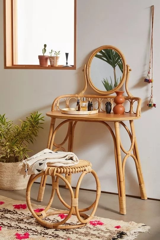Rattan vanity with round mirror and matching stool