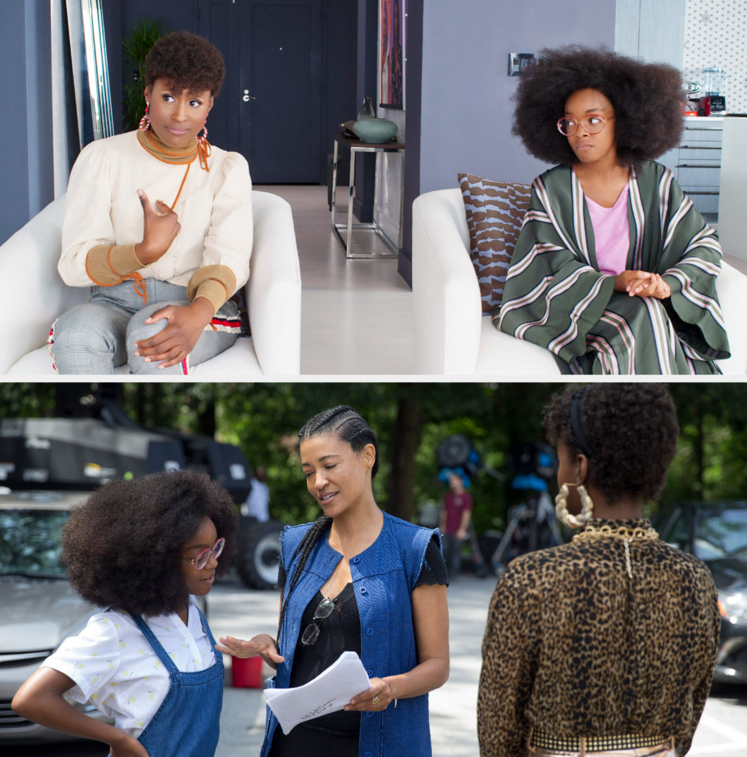 "April and young Jordan sitting in adult Jordan's apartment; Tina Gordon directing Issa Rae and Marsai Martin on the set of ""Little"""