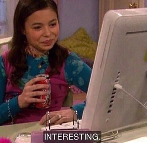 """Meme of Meghan from Drake and Josh looking at her computer with the caption """"Interesting"""""""