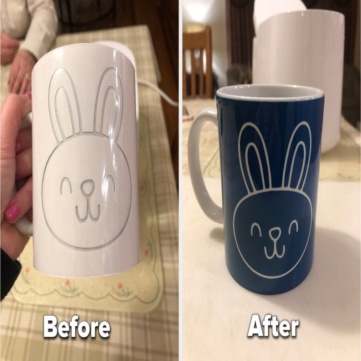 to the left: a white mug with a bunny cut out, to the right: the same mug blue after being pressed