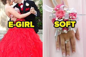 "On the left, a couple embracing wears a prom dress and suit labeled ""E-Girl,"" and on the right, someone wearing a corsage on their wrist labeled ""soft"""
