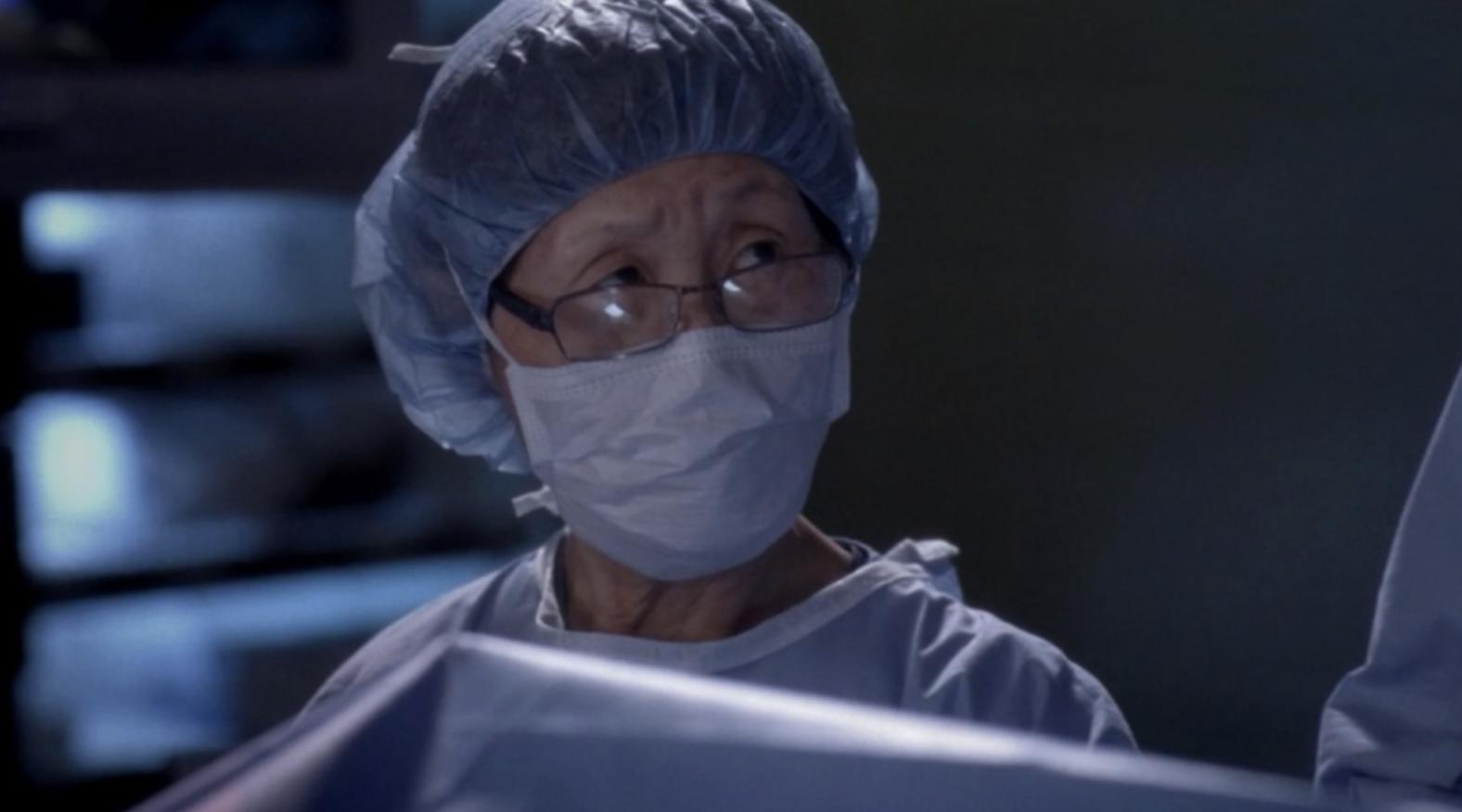 "A nurse in surgical gear in ""Grey's Anatomy"""
