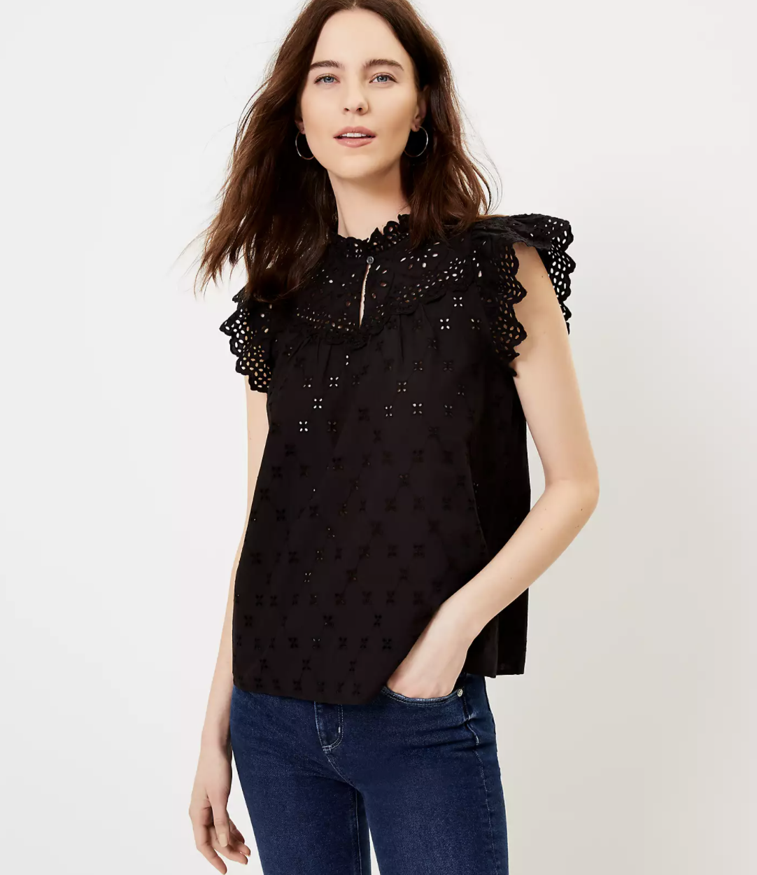 Model wearing Loft Eyelet Split Neck Shell shirt