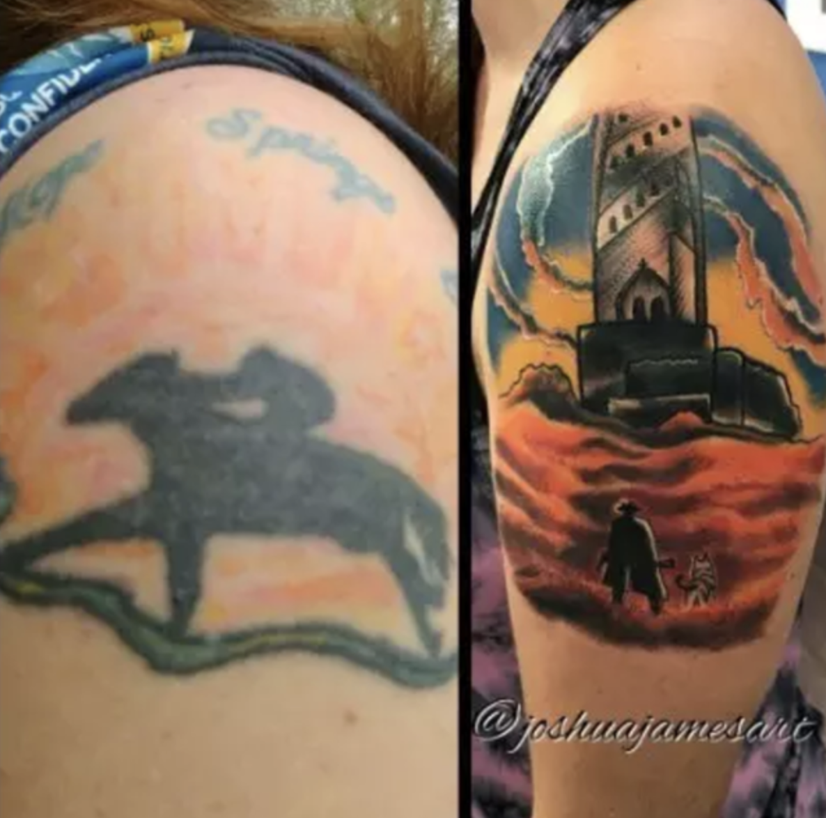 A botched tattoo of a race horse and its cover-up of a Dark Tower