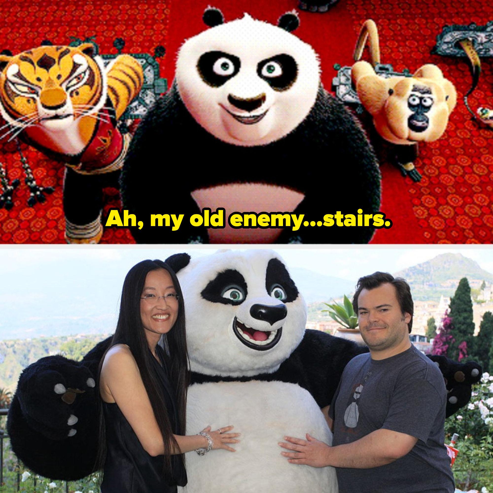 "Po from ""Kung Fu Panda 2"" looking at a flight of stairs with angst; director Jennifer Yuh Nelson and Jack Black posing with Po at a ""Kung Fu Panda 2"" premiere"