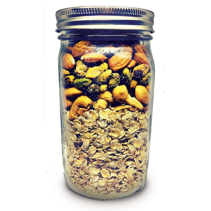 The granola ingredients in a jar