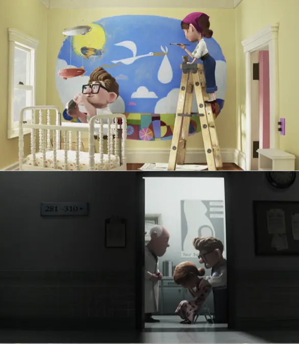 Ellie and Carl decorating the nursery then Ellie crying at the doctor's