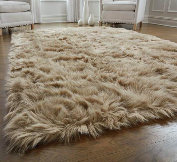 Fluffy rug on wood floor