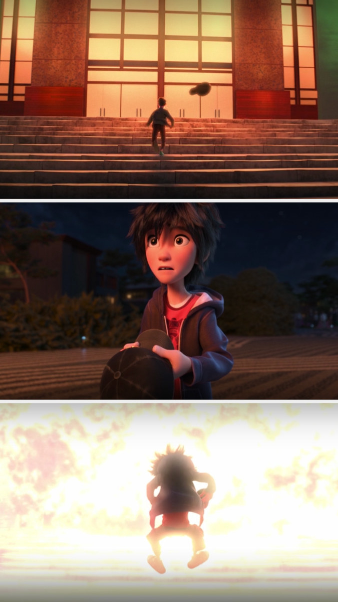 Hiro watches Tadashi rush into the building, picking up his hat and going after him — then the building explodes
