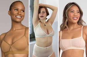 Three panels showing models each wearing a different bra