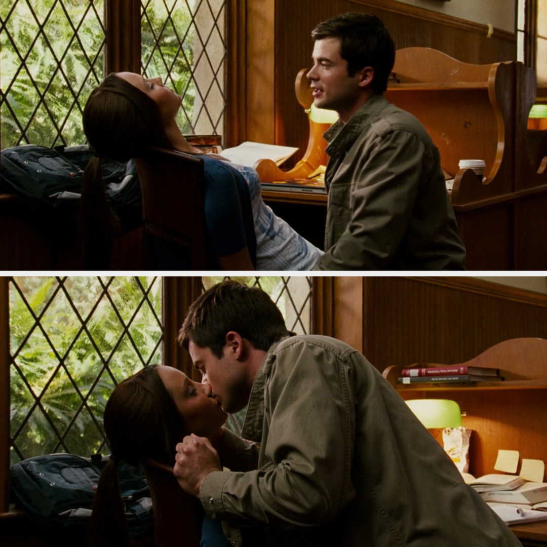 Tyler kissing Sydney awake in the college library