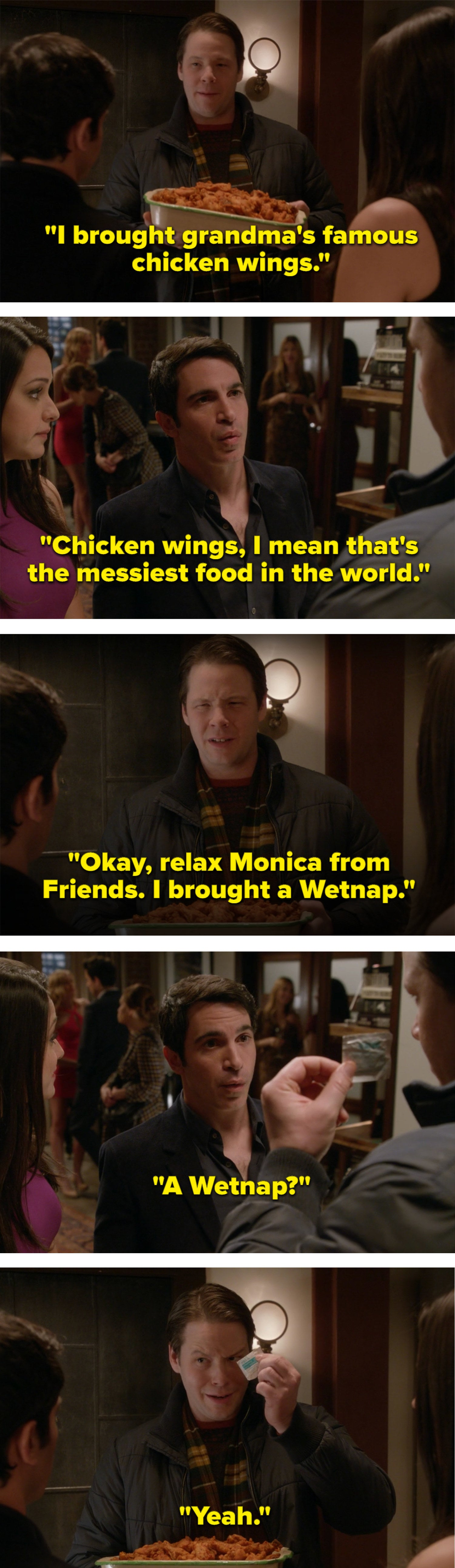 Morgan brings a tray of messy chicken wings to Danny's apartment along with a single Wetnap wipe