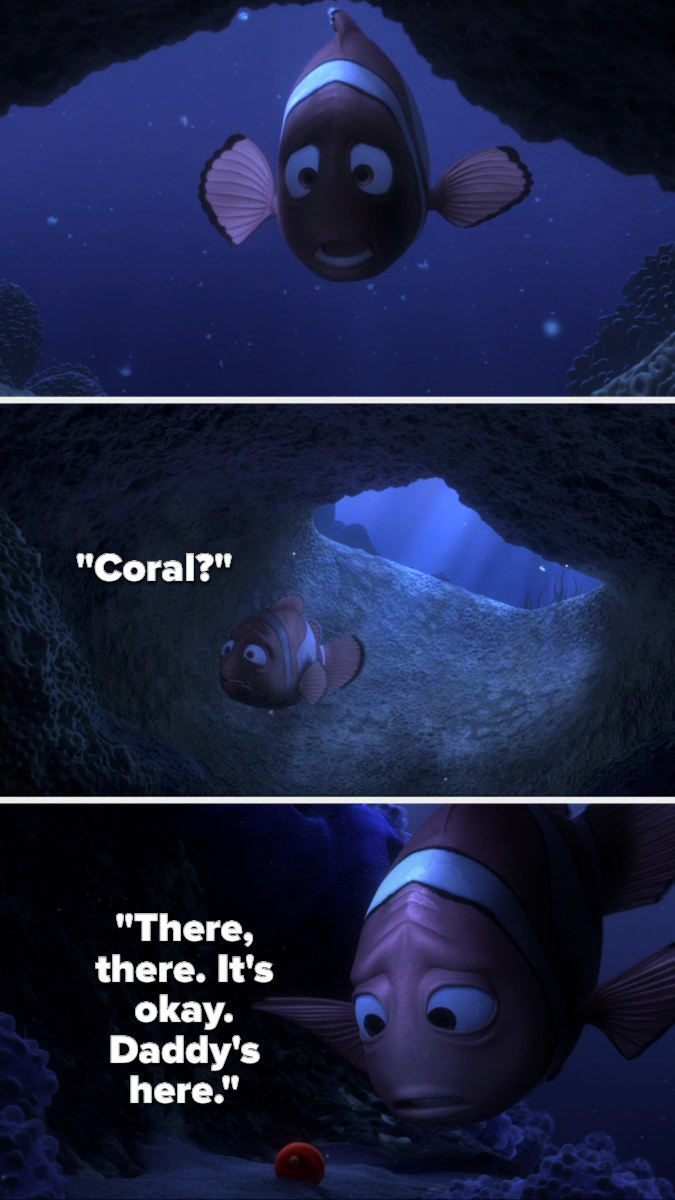 Marlin swims into the cave calling for his wife and finds Nemo's egg, telling him it'll be alright