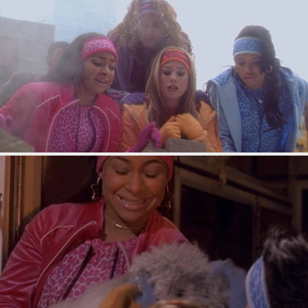 The Cheetah Girls singing to Toto while he's stuck in the hole