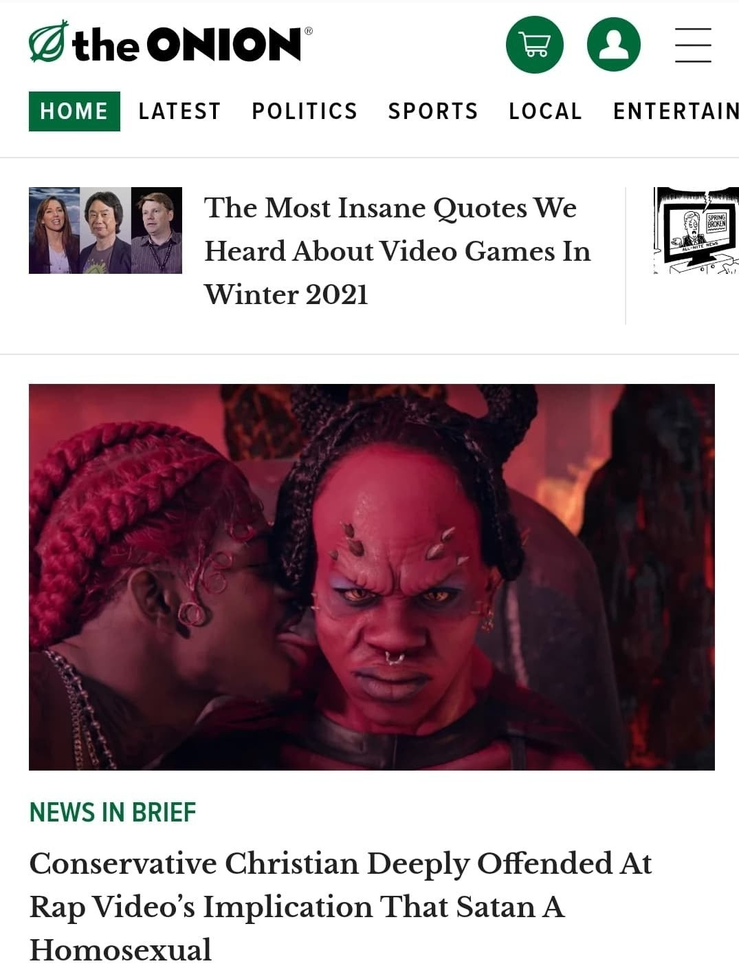 The homepage of the Onion