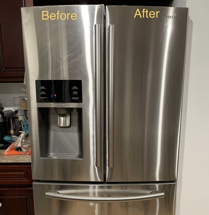 A before and after image of a refrigerator that is smudged and dirty on one side and clean and polished on the other side