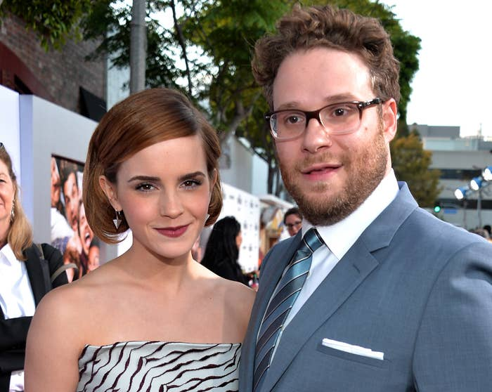 Emma poses with Seth at the premiere