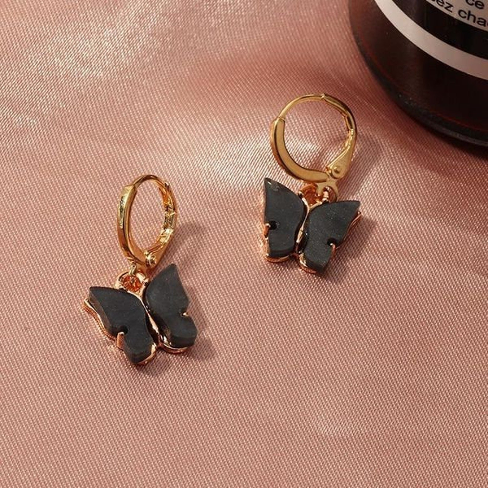 Pair of black butterfly earrings