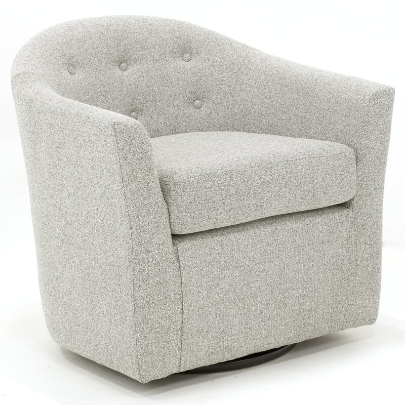 Gray barrel chair with swivel base, tufted back, and removable seat cushion