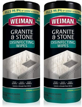 a two pack of granite cleaning wipes