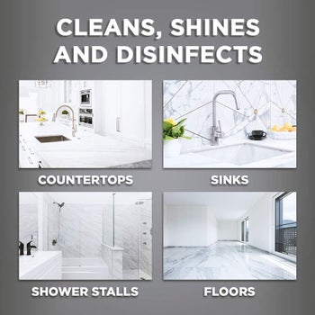 a graphic explaining how the wipes can be used on counters, sinks, shower stalls, and floors